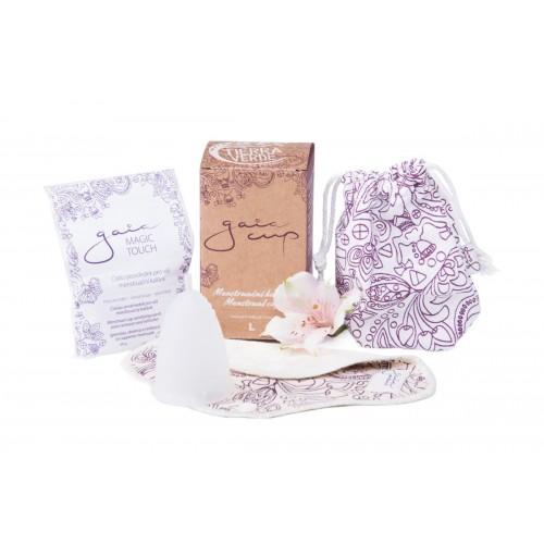 Gaia cup  menstruační kalíšek + slipová vložka a čistící prášek vel. L