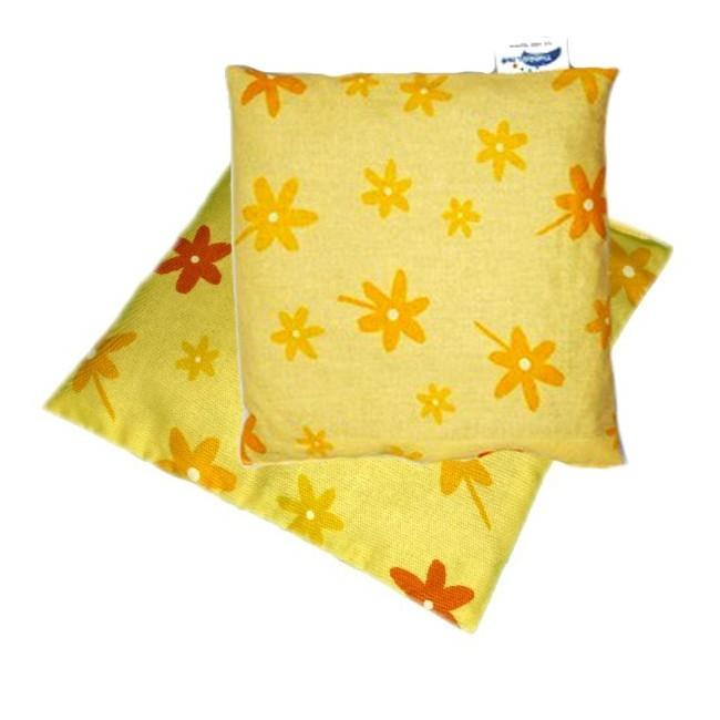 Nahřívací polštářek z třešňových pecek žlutý