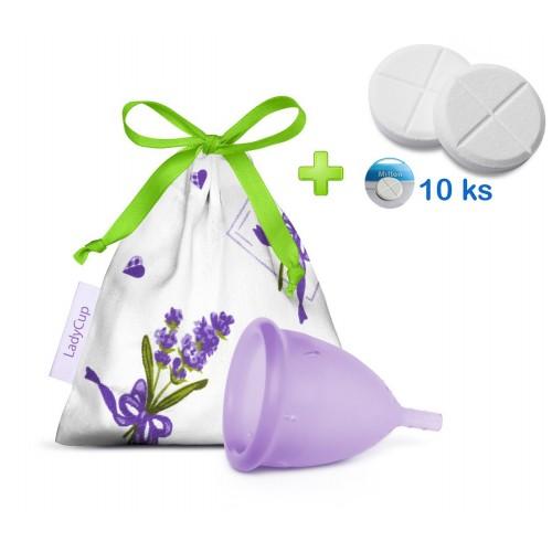 LadyCup menstruační kalíšek Dotek levandule L + tablety 10ks