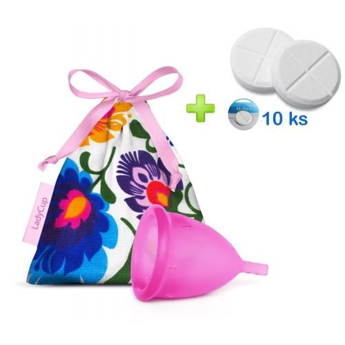 LadyCup menstruační kalíšek Divoký zimolez S + tablety 10ks