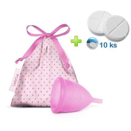 LadyCup menstruační kalíšek Růžový S + tablety 10ks
