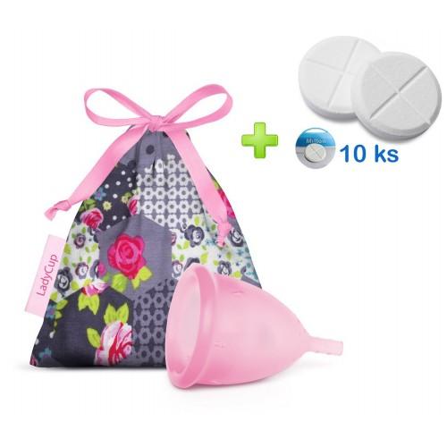 LadyCup menstruační kalíšek Světle růžový S + tablety 10ks