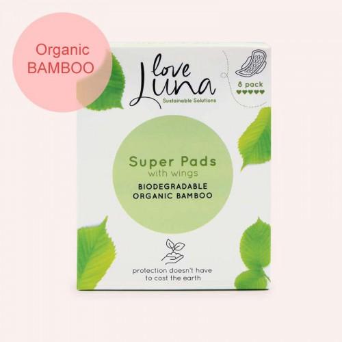 Love Luna  z organického bambusu Super menstruační vložky 8ks