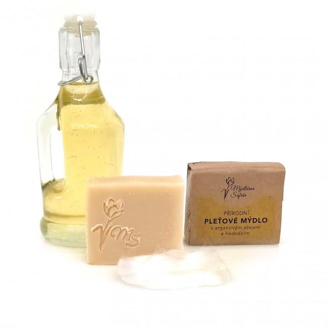Přírodní pleťové mýdlo s arganovým olejem a hedvábím